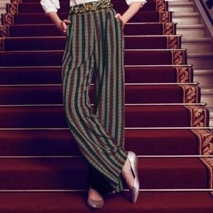 Anthropologie Harlyn Silk Striped Palazzo Pant